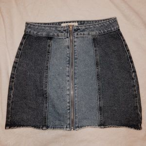 Pacsun Zipdown 2 Tone Jean Skirt